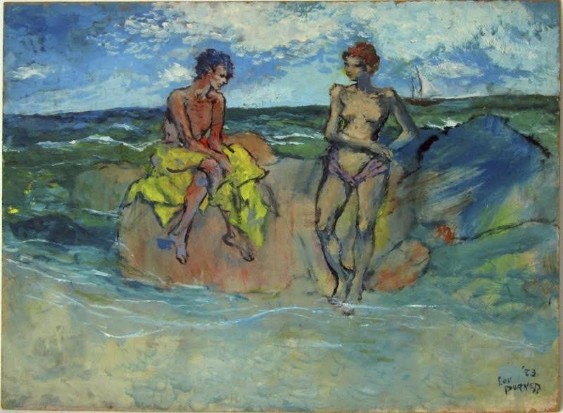 Lou Burnett oil on board shore scene with swimmers, 18