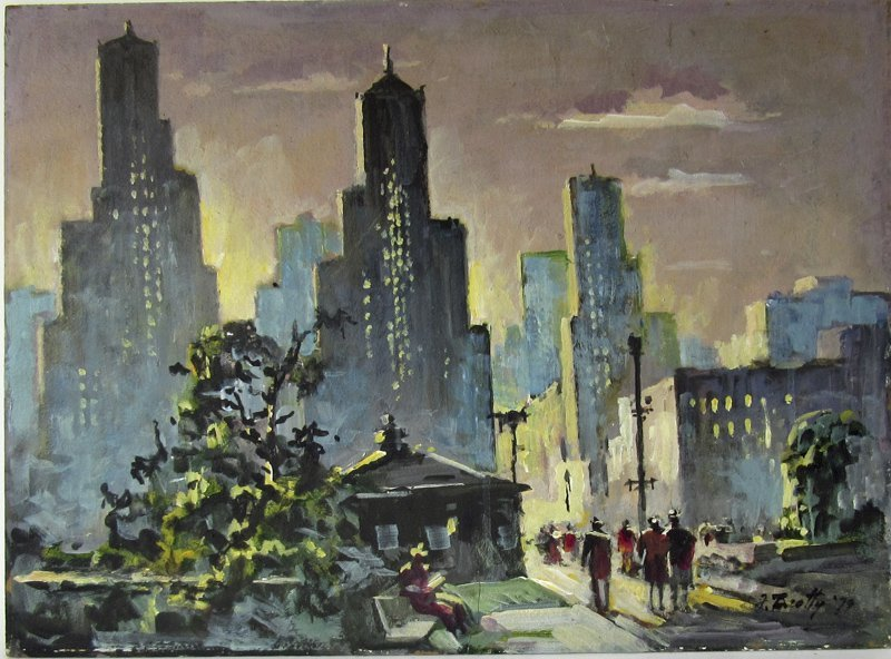 """Frank Beatty oil on board, """"59th St. New York,"""" 18 by"""