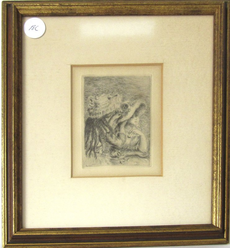 """Pierre Auguste Renoir etching, """"Le Chapeau Epingle"""","""