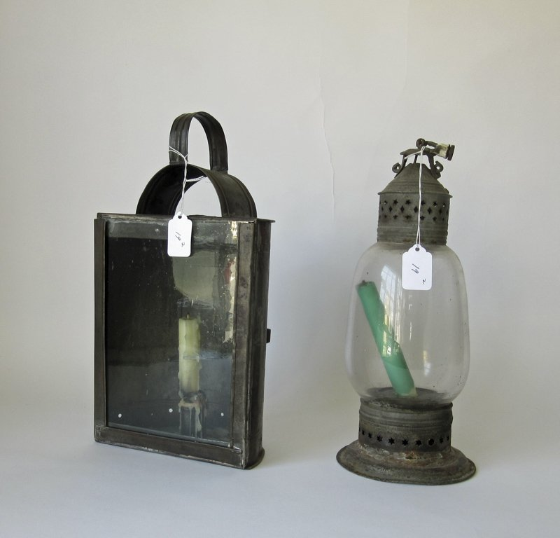 Lot of 2 antique tin candle lanterns, tallest 14