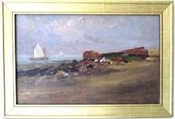 Lynn Shore painter's school oil on canvas beach scene