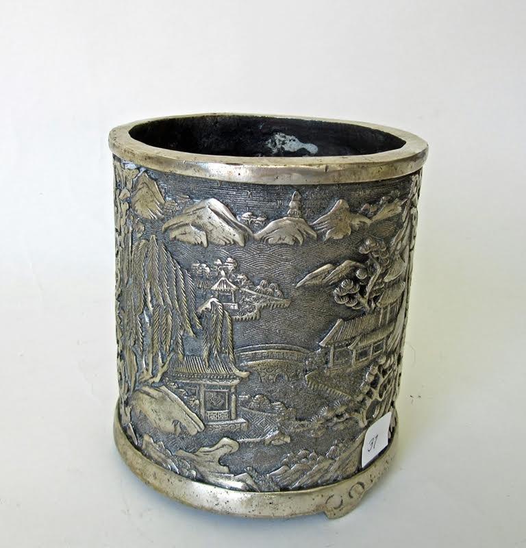 Antique Chinese silvered bronze brush pot, Quianlong