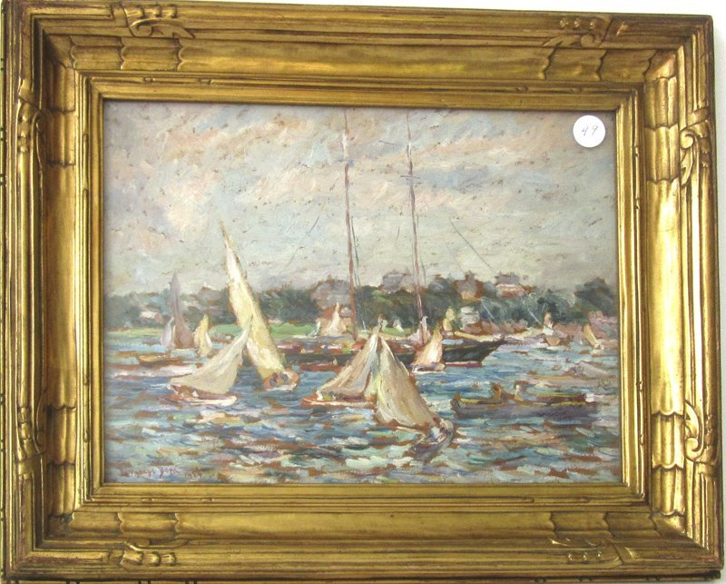 """* Reynolds Beal oil on board, """"Yachting, Marblehead"""