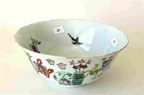 Antique Chinese famille rose porcelain bowl with