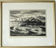 Alice Harold Murphy lithograph harbor scene, 10.5 by