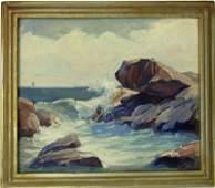 Arthur Norman Davis oil on board rocky shore scene 10