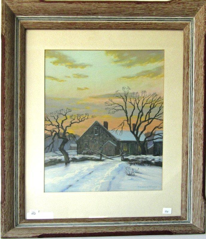 Charles Gordon Harris pastel winter farm scene, 15 by
