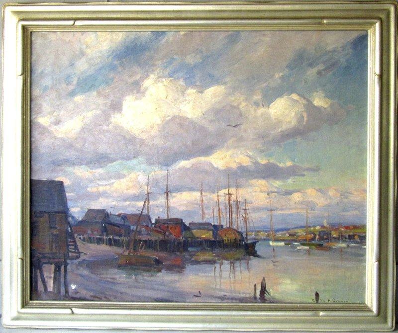 "*Emile A. Gruppe oil on canvas, ""Gloucester Sky,"" 25 by"
