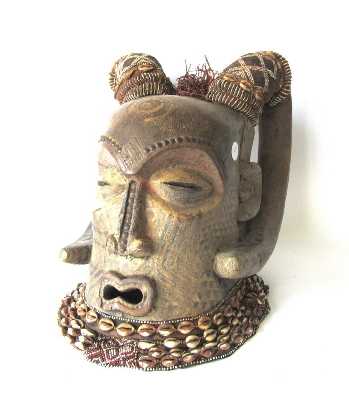 African Kuba carved, painted and shell decorated helmet
