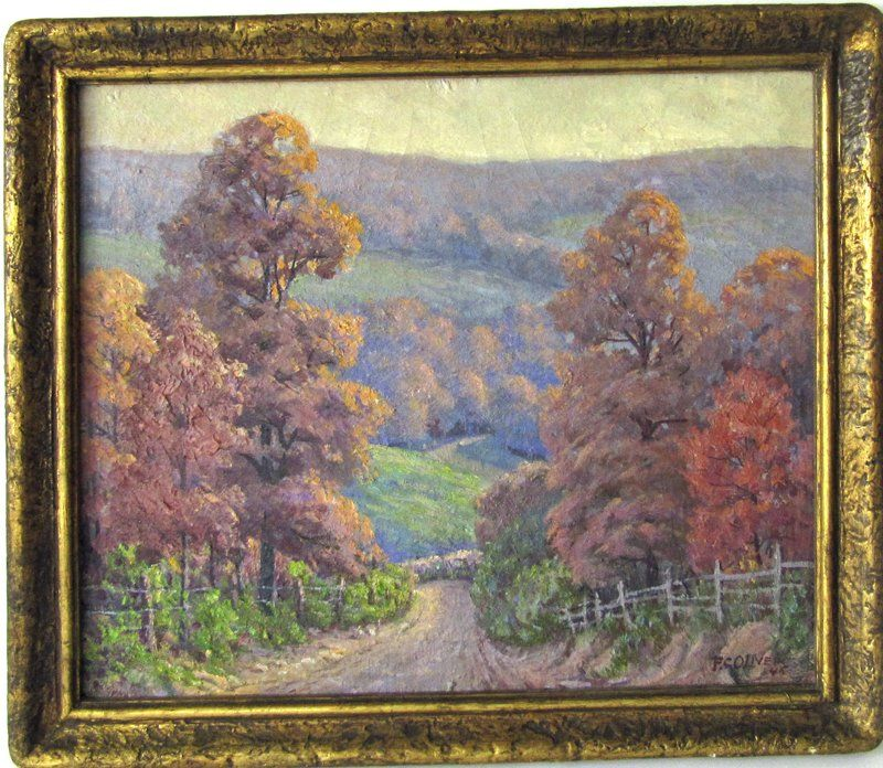 """F. C. Oliver oil on canvas, """"Autumn Hills,"""" 15.5 by"""