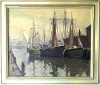 Emile A Gruppe oil on canvas Gloucester Harbor scene