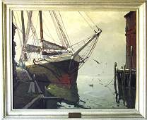 *Otis Cook oil on canvas dock scene with schooner, 25