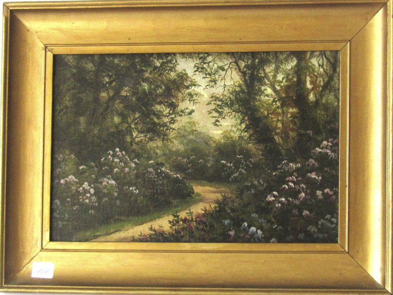 L. Lewis oil on canvas garden path. 8 by 12 inches,