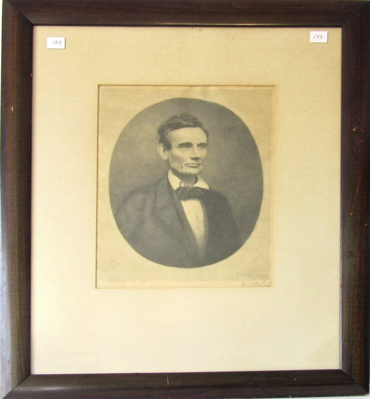 Timothy Cole engraving of Abraham Lincoln, 12 by 9