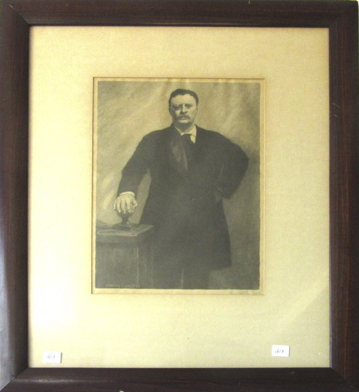 Timothy Cole engraving of Theodore Roosevelt, 12.5 by 9
