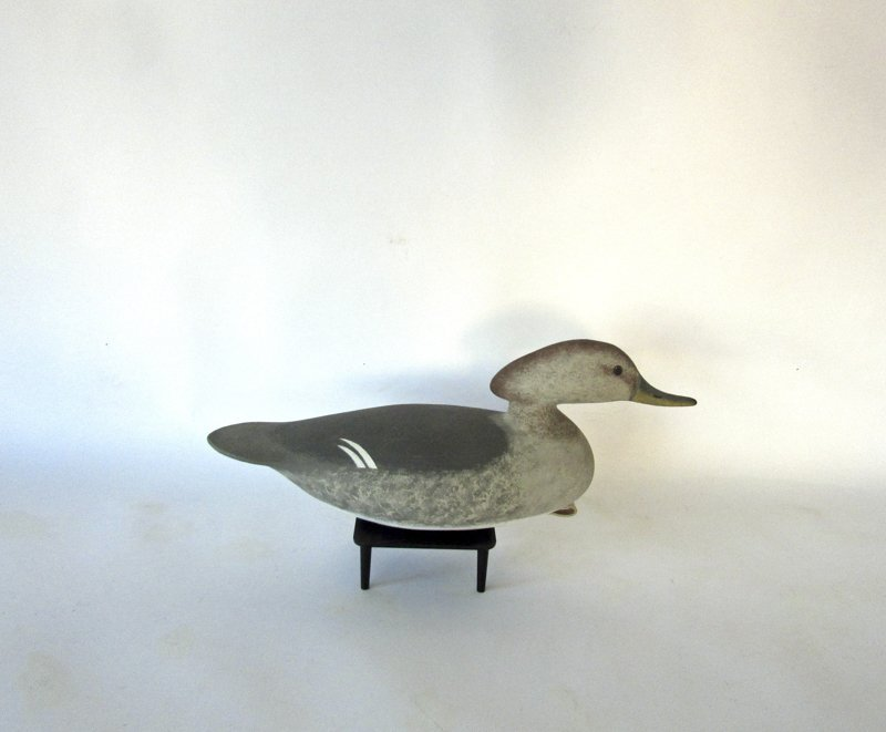 Carved and painted Merganser duck decoy, 14 inches