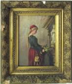 19th century European oil on canvas genre scene with