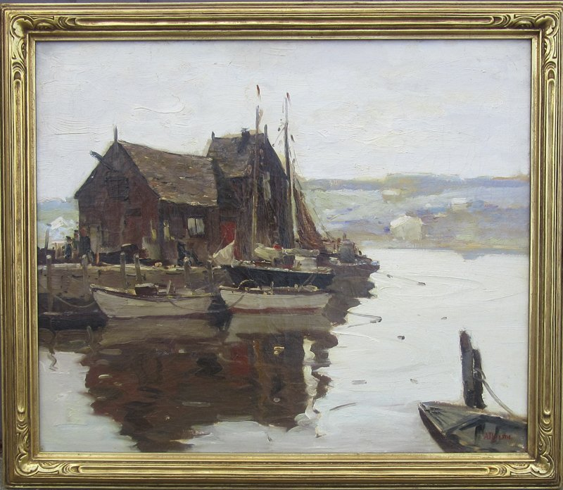 """*Anthony Thieme oil on canvas, """"Rockport Wharf,"""" 24 by"""