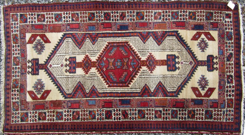 Old Serab camelhair Oriental scatter rug, 66 by 34
