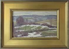 Bernard Corey oil on canvas landscape with snow