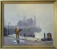*Otis Cook oil on canvas foggy harbor scene, 30 by 36