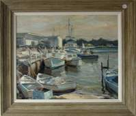 Emile A Gruppe oil on canvas Mullet Boats