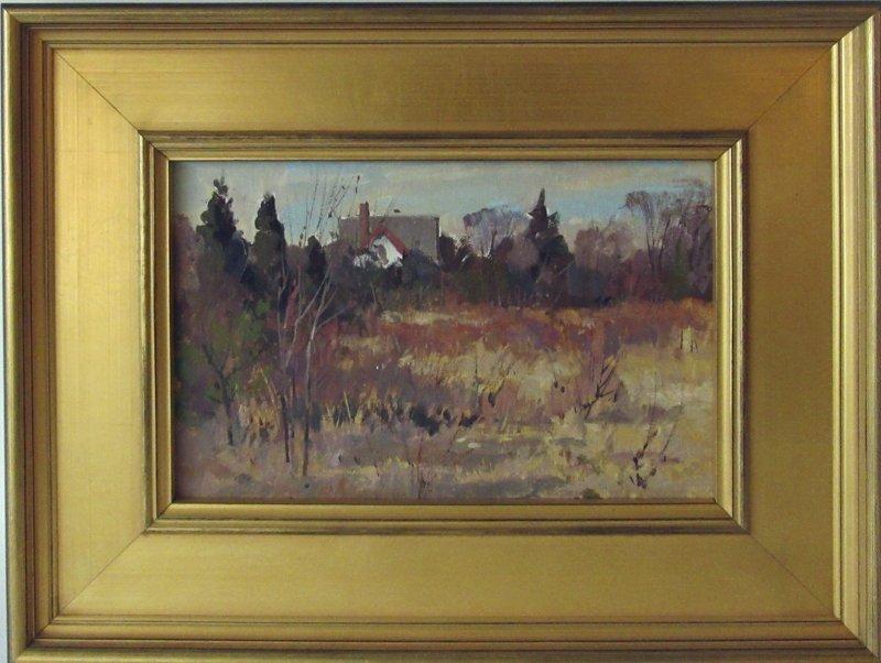 Bernard Corey oil on board fall landscape, 8 by 12