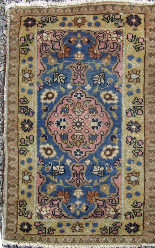 Old Tabriz Oriental scatter rug, 45 by 26 inches.