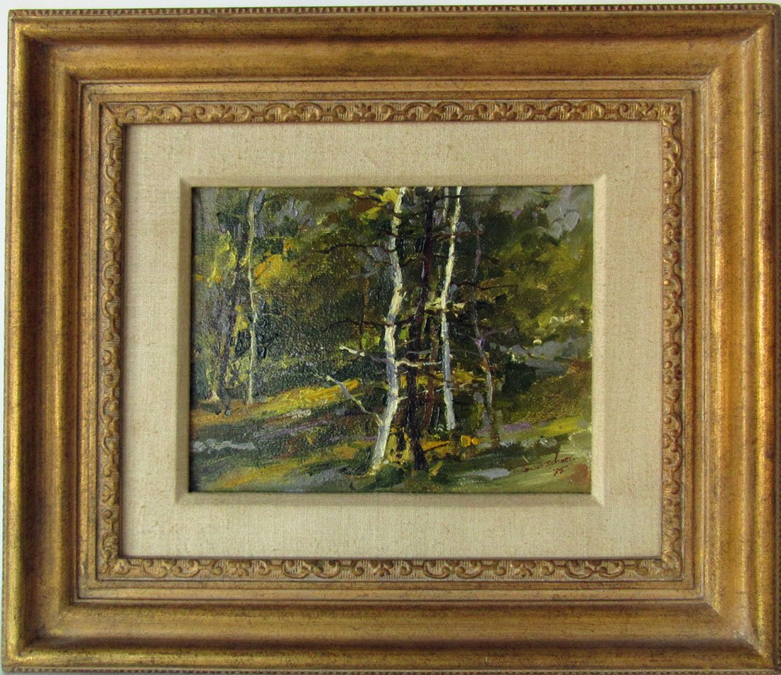 Ted Goerchner oil on board wooded landscape, 8 by 10