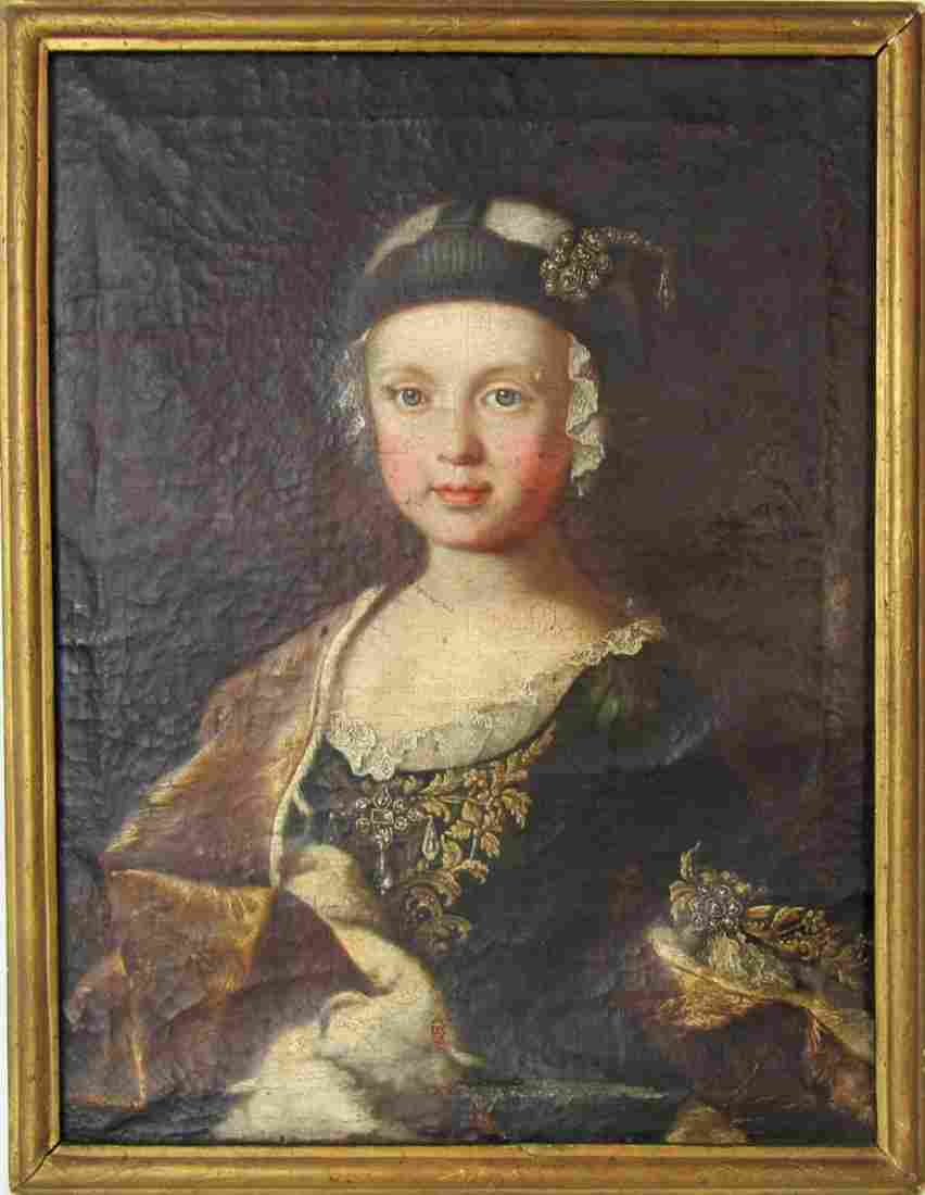 """Early 18th century French oil on canvas portrait, """"La"""