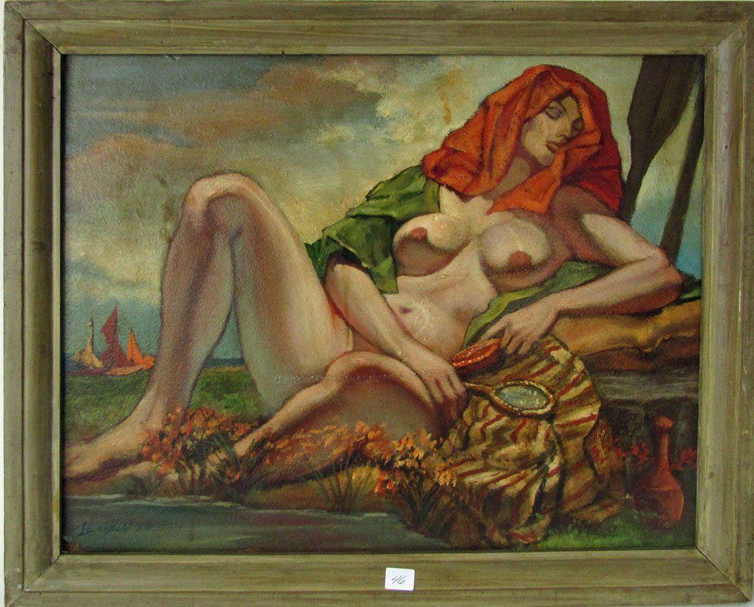 Herbert Leopold oil on board reclining nude, 16 by 20
