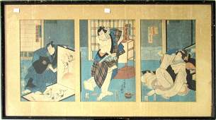 Japanese woodblock print of Samurai and Geisha each