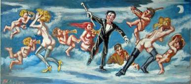 Herbert Leopold oil on board of flying nudes and