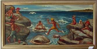 Herbert Leopold oil on board shore scene with swimmers