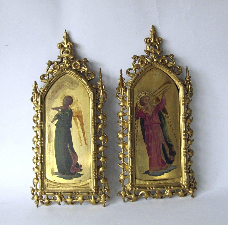 Pair of antique Italian paintings on wood of angels,