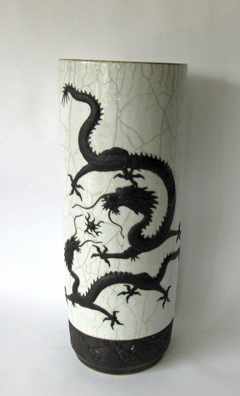 Antique Japanese crackle glaze umbrella stand with