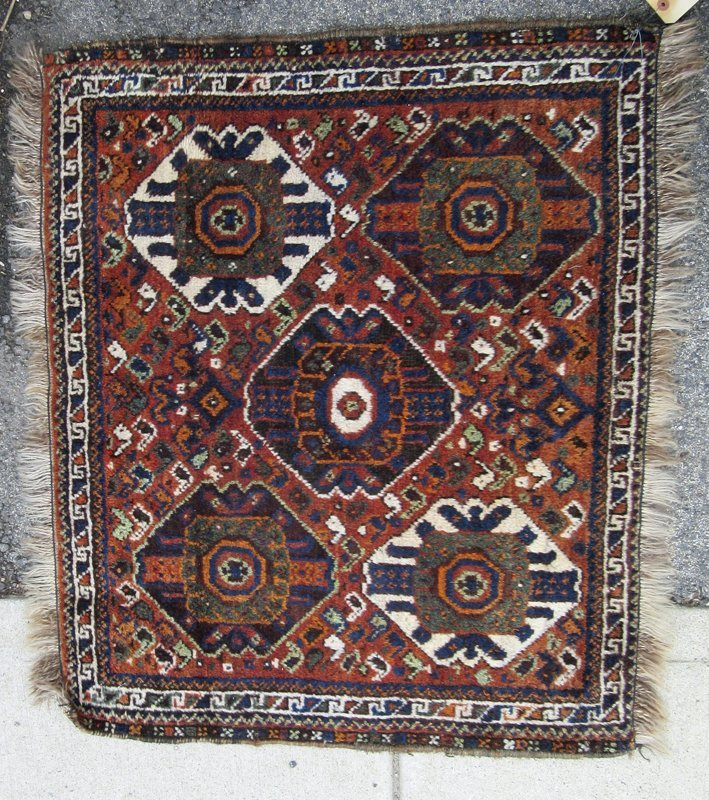 Antique Shiraz Oriental scatter rug, 36 by 29.5 inches.