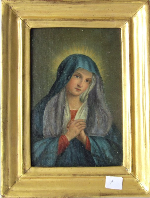 19th century oil of the Virgin Mary, 7.5 by 5 inches,