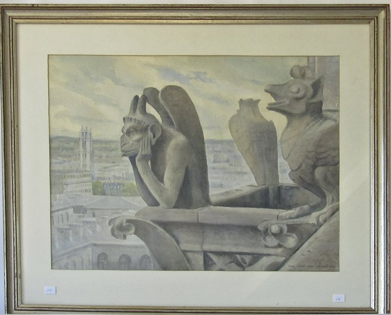 """William Jewell watercolor, """"Gargoyle on Notre Dame, """"17"""