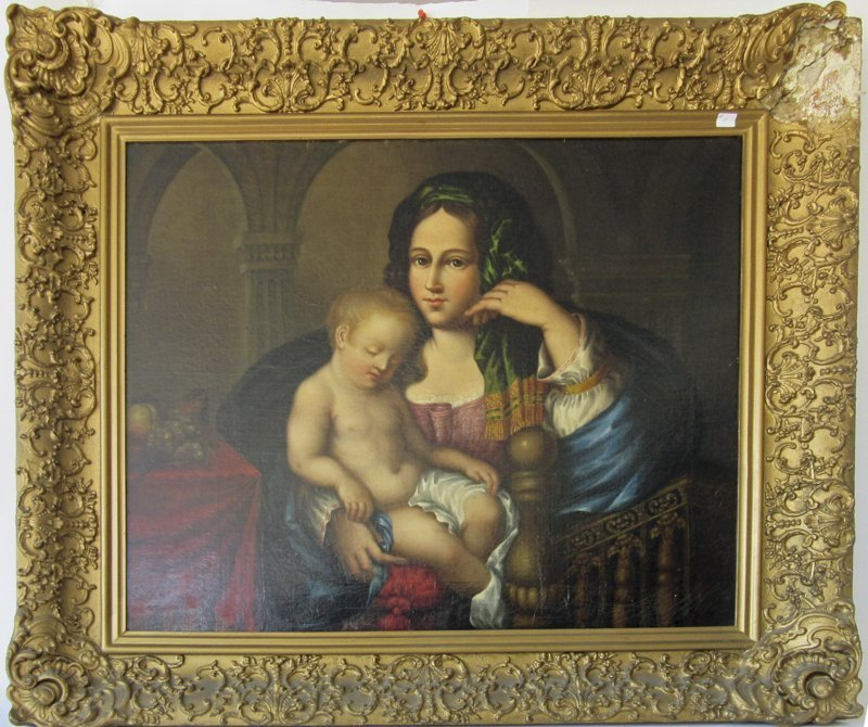 Oil on canvas laid down on board religious scene, 25 by