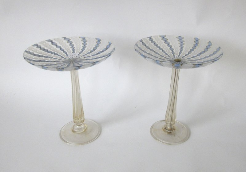 Pair of Venetian glass compotes, 9 inches tall.