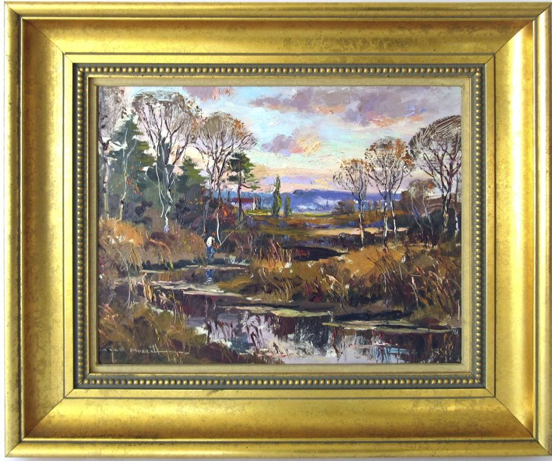 """Wayne Morrell oil on board, """"Cape Ann Marshes,"""" 12 by"""
