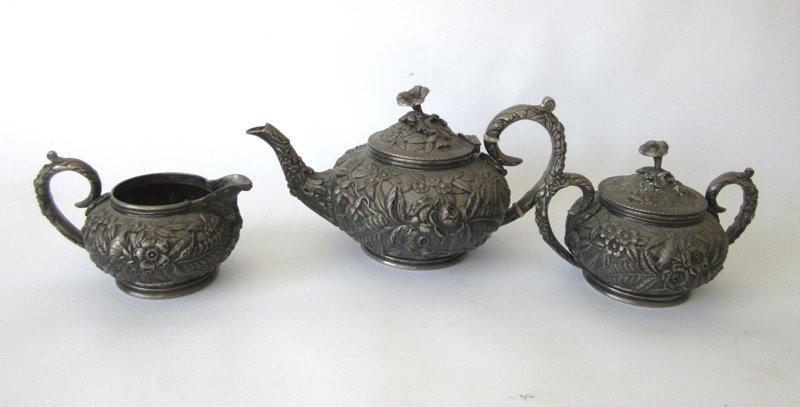 S. Kirk & Son Sterling silver three piece tea set,