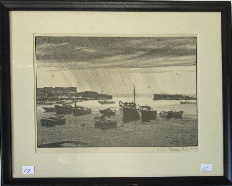 "Gorgon Grant lithograph, ""Rain Squall,"" 10 by 12.25"