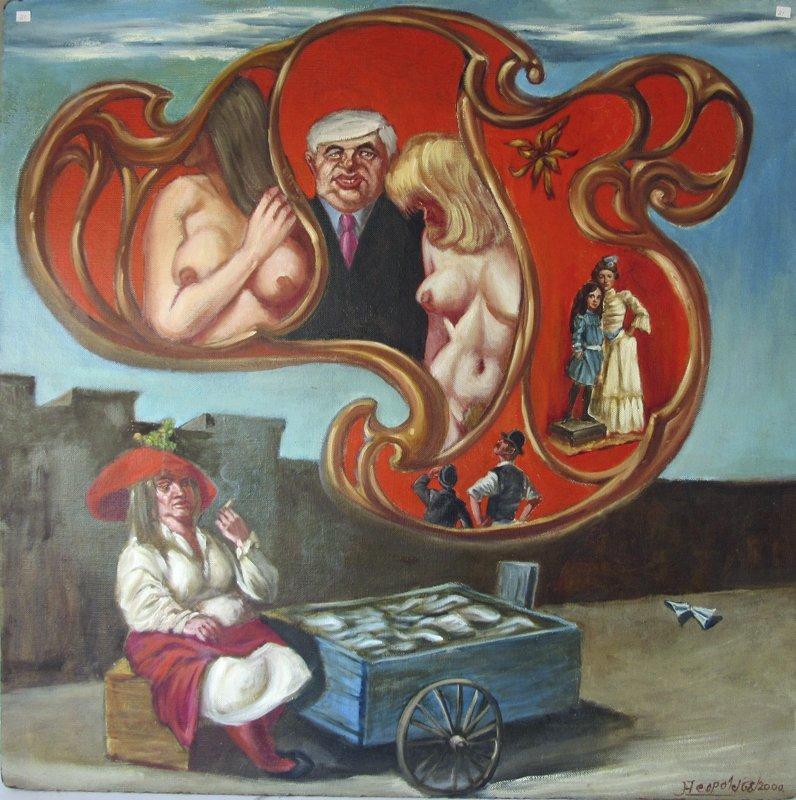 Herbert Leopold oil on board Surrealist oil on board,
