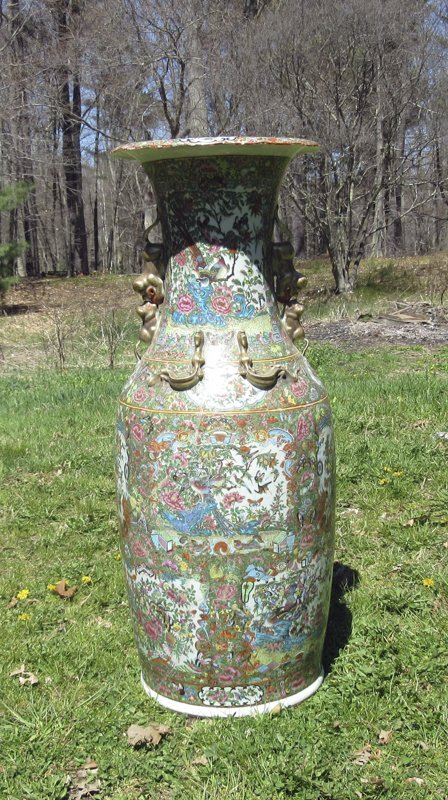 Antique Rose Medallion vase, 36 inches tall. Condition: