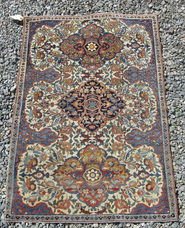 Antique Oriental carpet, 48 by 33 inches. Condition: