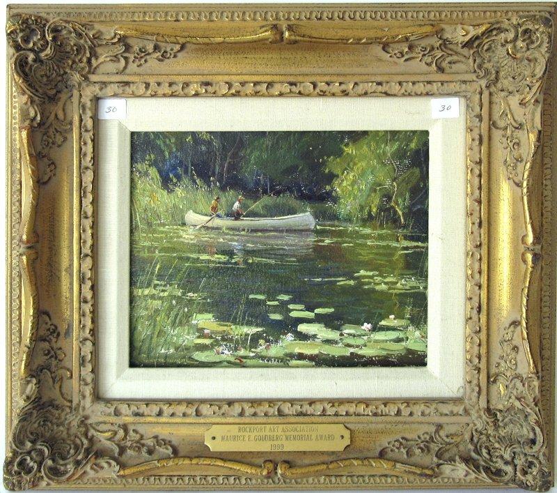 "Wayne Morrell oil on board, ""Cape Ann Summer Pond,"" 8"