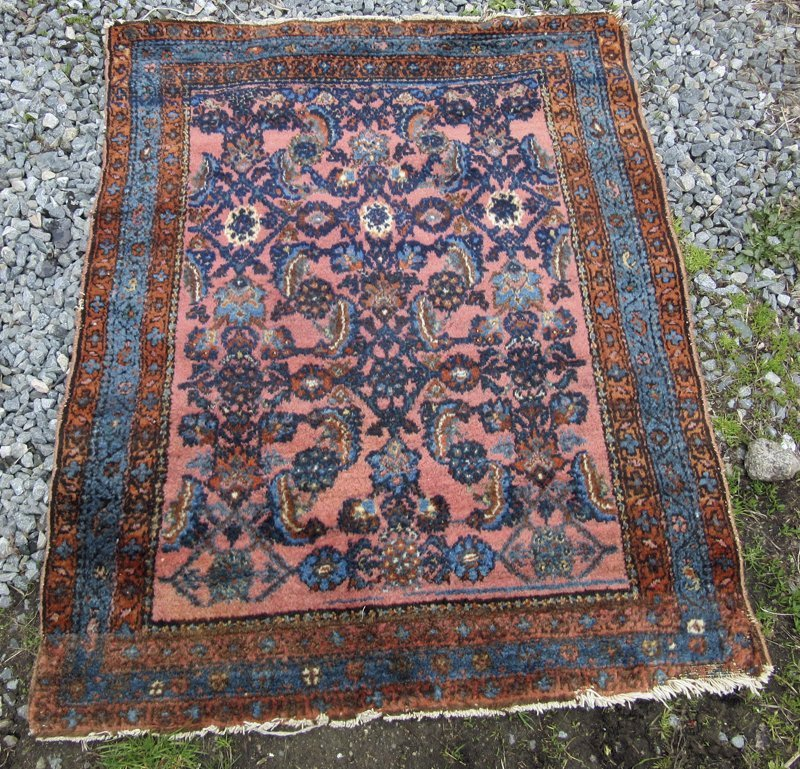Old Persian Oriental scatter rug, 52 by 40 inches.