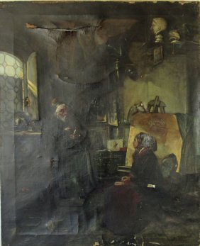 Oil On Canvas Interior Scene With Figures, 28.75 By 22